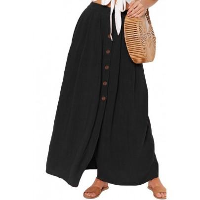 Dámská černá sukně s knoflíky