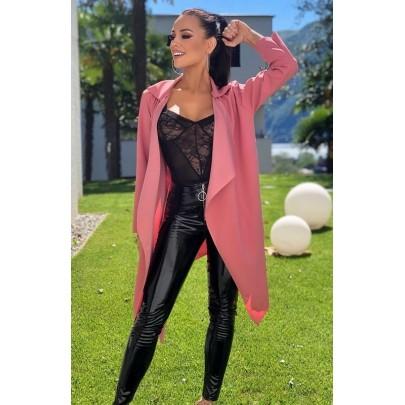 Dámský tmavě růžový kabát