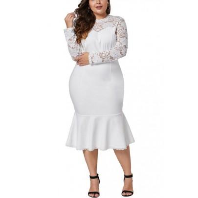 Bílé dámské plus size šaty