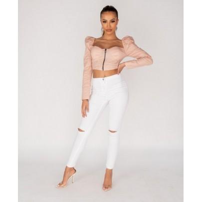 Dámské stylové bílé kalhoty