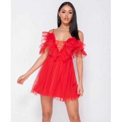 Dámské červené šaty ROSETTA