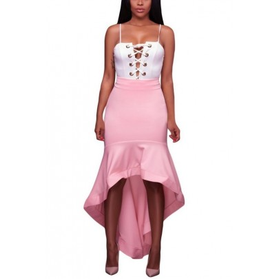 Dámská asymetrická růžová sukňa