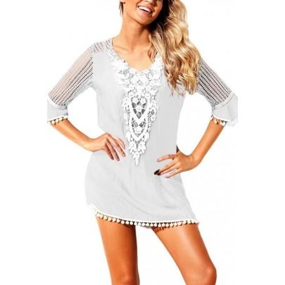 Plážové šaty s krajkou - bílé