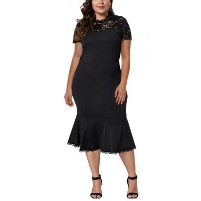 Dámské černé plus size midi šaty Rosmunda