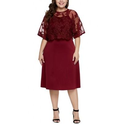 Dámské bordové plus size midi šaty Serafina