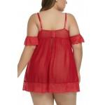 Červená plus size noční košilka