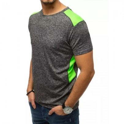 Zajímavé tmavě šedé pánské tričko RX4522