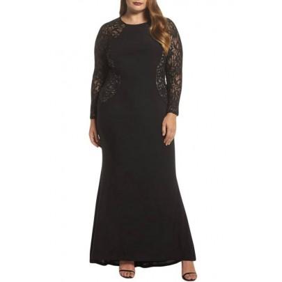Dlouhé plus size šaty - černé