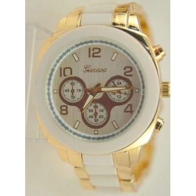 Dámské hodinky Geneva Stripe - Gold White