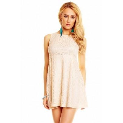 Béžové krajkové šaty Oaklee