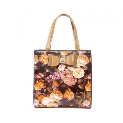 Exkluzivní lakovaná kabelka flower - béžová