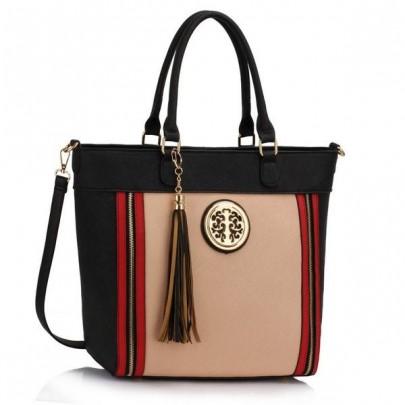 Trendy kabelka - černá / béžová