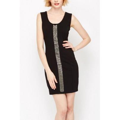 Dámské šaty černé se stříbrnou aplikací Patricia