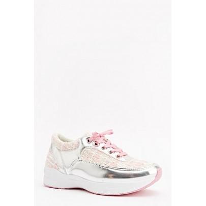 Dámské tenisky - růžové stříbrné