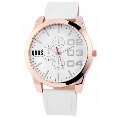 Pánské hodinky QBOS bílé Gold