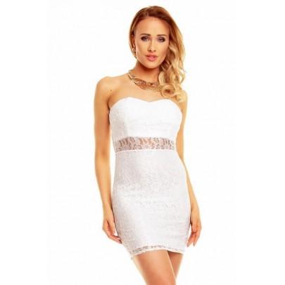 Dámské bílé krajkové šaty Donatella
