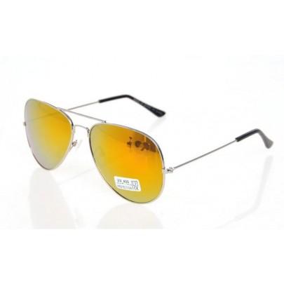 Sluneční brýle AVIATOR - pilotky stříbrný kovový rám GOLD