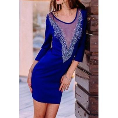 Dámské modré šaty s aplikací Maryl