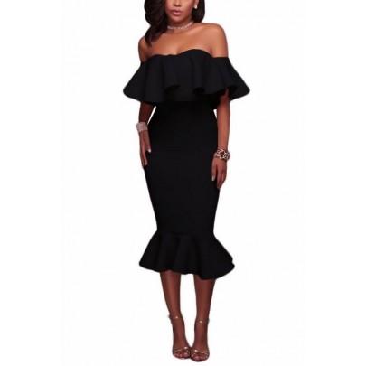 Dámské šaty s volánem Angelica - černé