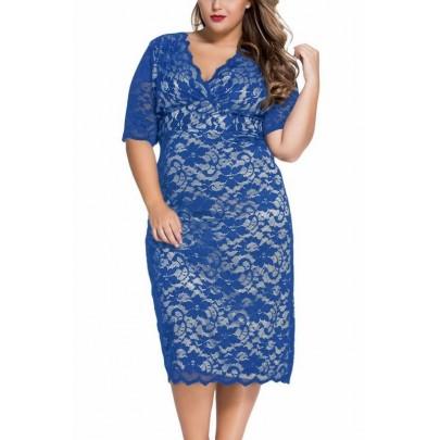 Plus size midi šaty Abril - modré