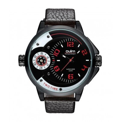Pánské hodinky Oulm Dual Luxury - černo červené