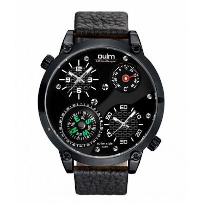 Pánské hodinky Oulm Dual Navigator New - černé