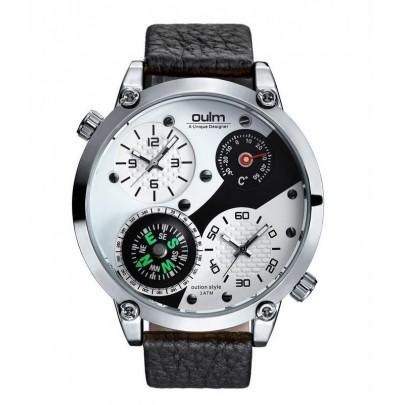 Pánské hodinky Oulm Dual Navigator New - stříbrné