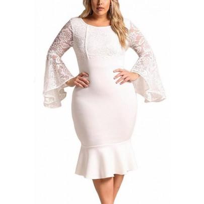 Bodycon plus size šaty Cameron - bílé