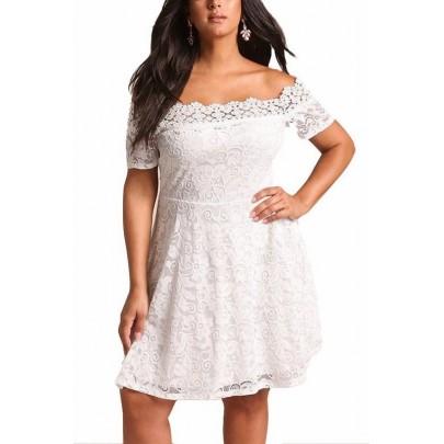 Krajkové plus size šaty Serena - bílé