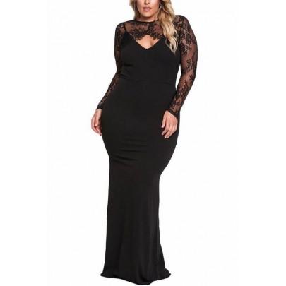 Dlouhé plus size šaty Nadia - černé