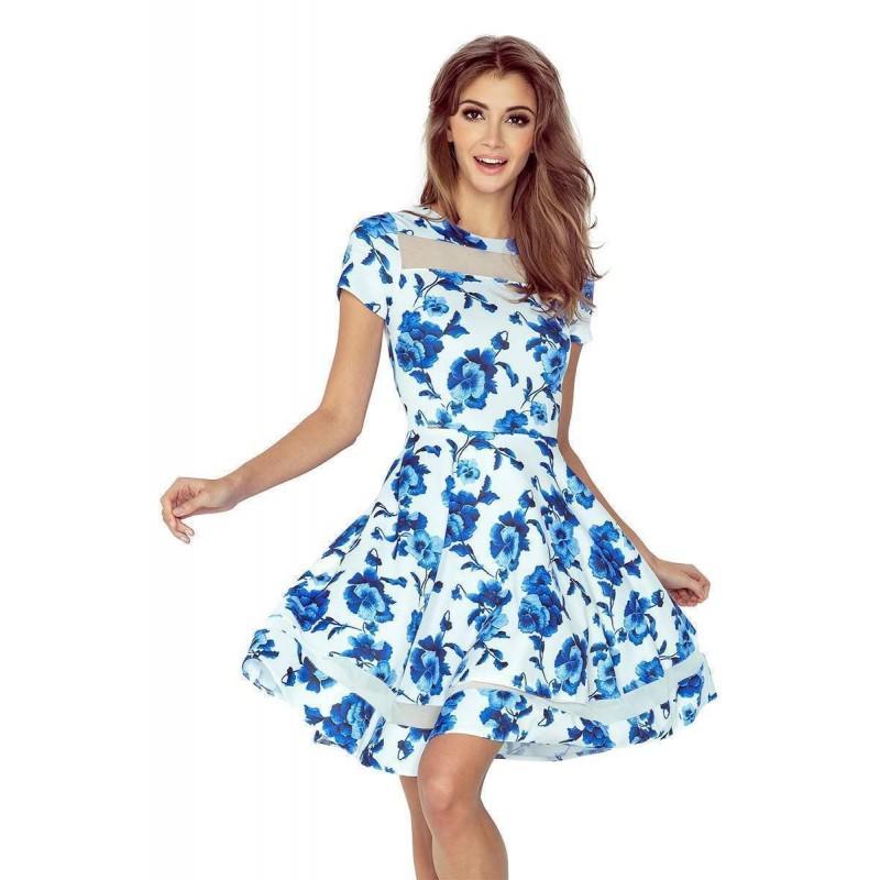 ... Stylové dámské šaty Diane - bílé s květinami vMM 003-3 ... 74938829d3