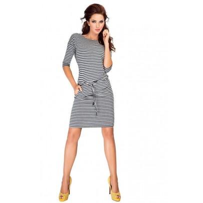 Šedé trendovní šaty s proužky v13-11