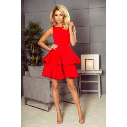 Šaty s vrstvenou sukní Nicolina - červené 169-1