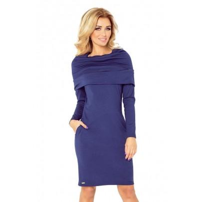 Dámské šaty s velkým rolákem Marea tmavě modré v131-5