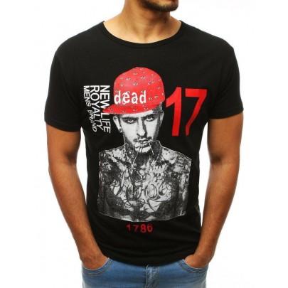 Černé jedinečné pánské tričko s potiskem rx3514
