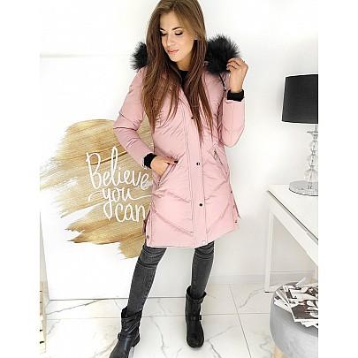 Prodloužená růžová dámská bunda vty1508
