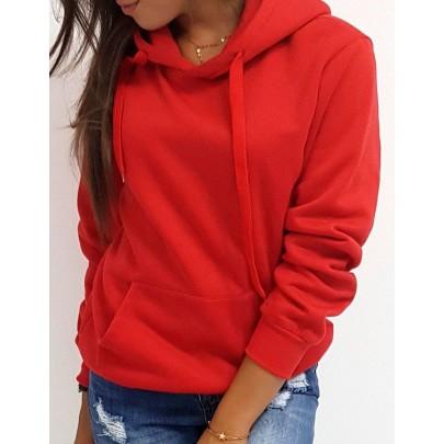 Dámská mikina červená s kapucí by0175