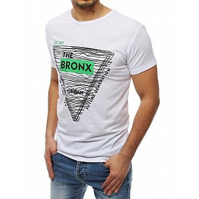 Pánské bílé stylové tričko s nápisem rx3992