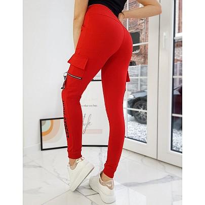 Dámské červené teplákové kalhoty s nápisem uy0755