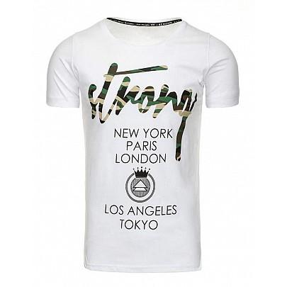 Trendové pánské tričko s nápisy - bílé rx2192