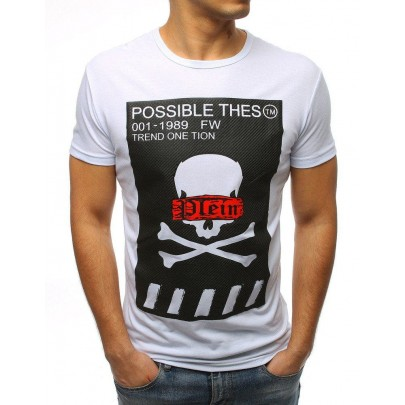 Bílé pánské tričko s potiskem vrx3183