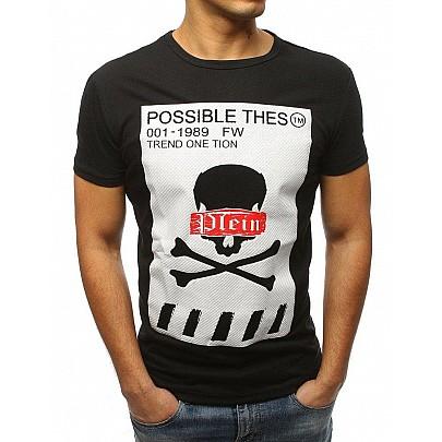Černé pánské tričko s potiskem rx3184