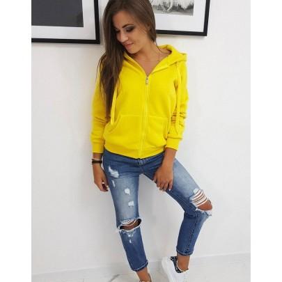 Pohodlná dámská mikina žlutá s kapucí by0234