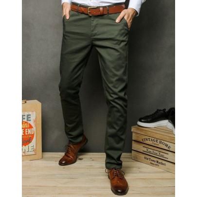 Pánské khaki pohodlné chino kalhoty ux2392