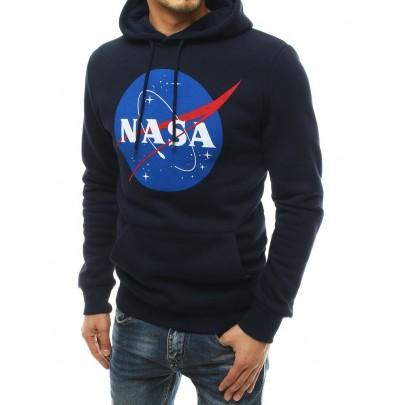 Pánská stylová modrá mikina s nápisem NASA bx4768