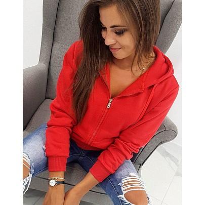 Pohodlná dámská mikina červená s kapucí by0226