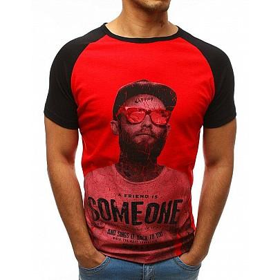 Pánské jednoduché červené tričko s potiskem rx3517