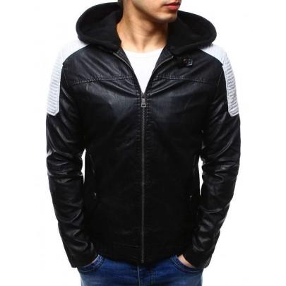 Moderní černá koženková bunda tx2111