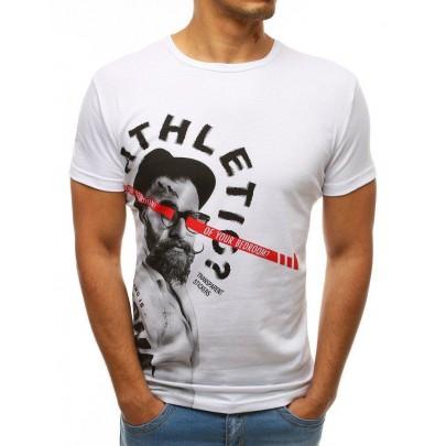 Pánské bílé jednoduché tričko s potiskem rx3507