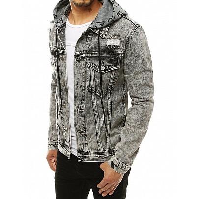 Černošedá pánská riflová bunda s kapucí tx3304